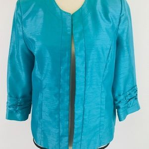 Dress  Barn Turquoise Ruched Sleeves Blazer Small